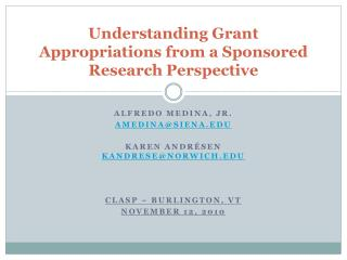 Understanding Grant Appropriations from a Sponsored Research Perspective