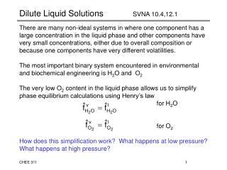 Dilute Liquid Solutions   SVNA 10.4,12.1