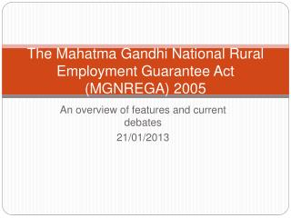 The Mahatma Gandhi National Rural Employment Guarantee Act MGNREGA 2005