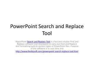 PowerPoint Search and Replace Tool