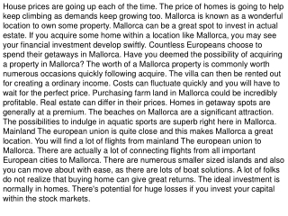 The sale of superb Mallorca properties