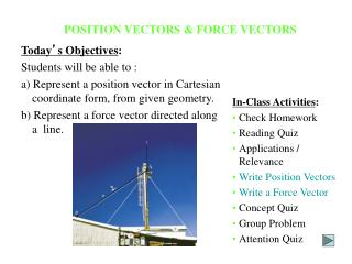 POSITION VECTORS  FORCE VECTORS