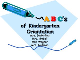 A B C s of Kindergarten Orientation
