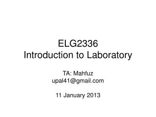 ELG2336 Introduction to Laboratory