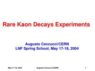 Rare Kaon Decays Experiments