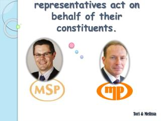 The ways in which elected representatives act on behalf of their constituents.