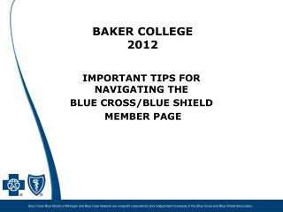 BAKER COLLEGE 2012