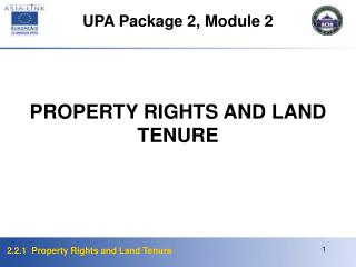 PROPERTY RIGHTS AND LAND TENURE