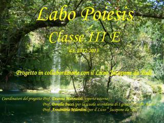 Labo Poiesis Classe III E a.s. 2012-2013  Progetto in collaborazione con il Liceo Jacopone da Todi