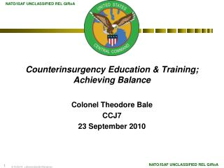 Counterinsurgency Education  Training; Achieving Balance