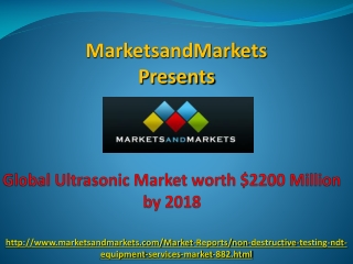 World Ultrasonic Market worth $2200 Million by 2018