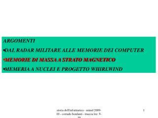 Storia dellinformatica - uniud 2009-10 - corrado bonfanti - traccia lez. 9-10