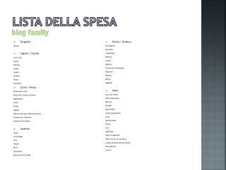 LISTA DELLA SPESA blog family