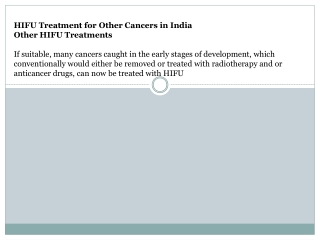 hifu treatment for other cancers in india
