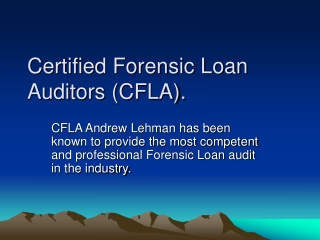 certified forensic loan auditors (cfla).