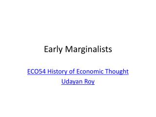 Early Marginalists