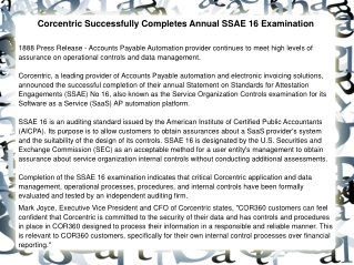 Corcentric Successfully Completes Annual SSAE 16 Examination