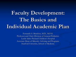 Faculty Development: The Basics and Individual Academic Plan