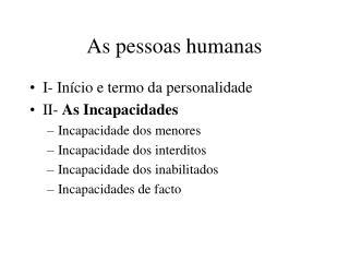 As pessoas humanas