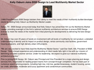 Kelly Osburn Joins BSB Design to Lead Multifamily Market