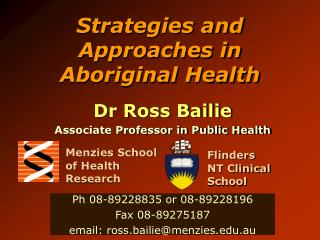 Strategies and Approaches in Aboriginal Health