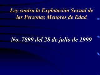 Ley contra la Explotaci n Sexual de las Personas Menores de Edad