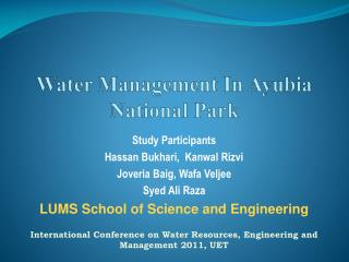 Water Management In Ayubia National Park