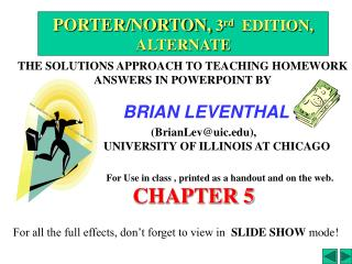 THE SOLUTIONS APPROACH TO TEACHING HOMEWORK ANSWERS IN POWERPOINT BY                   BRIAN LEVENTHAL