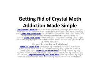 Getting Rid of Crystal Meth Addiction Made Simple
