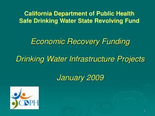 Economic Recovery Funding   Drinking Water Infrastructure Projects  January 2009