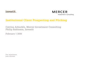 Institutional Client Prospecting and Pitching