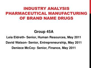 Industry Analysis Pharmaceutical Manufacturing of Brand Name Drugs