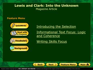 Lewis and Clark: Into the Unknown Magazine Article