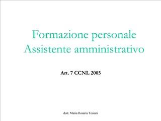 Formazione personale Assistente amministrativo