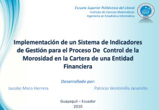 Implementaci n de un Sistema de Indicadores de Gesti n para el Proceso De  Control de la Morosidad en la Cartera de una