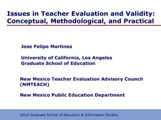 Issues in Teacher Evaluation and Validity: Conceptual, Methodological, and Practical
