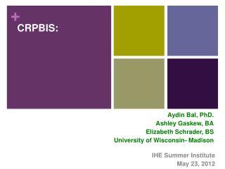 IHE Summer Institute May 23, 2012