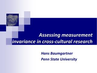 Assessing measurement  invariance in cross-cultural research