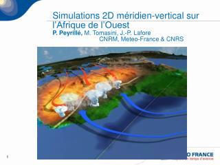 Simulations 2D m ridien-vertical sur l Afrique de l Ouest P. Peyrill , M. Tomasini, J.-P. Lafore       CNRM, Meteo-Franc