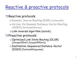 reactive  proactive protocols