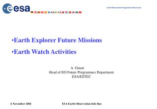 A. Ginati Head of EO Future Programmes Department ESA