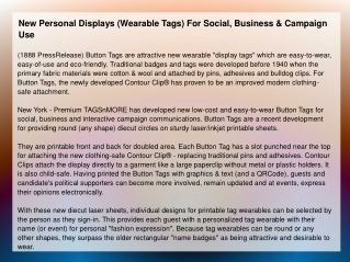 New Personal Displays (Wearable Tags) For Social
