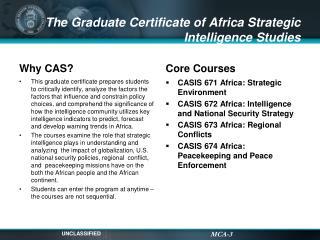 The Graduate Certificate of Africa Strategic Intelligence Studies