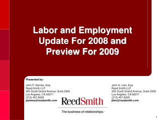 Labor and Employment  Update For 2008 and  Preview For 2009