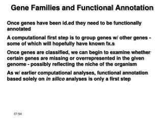 Gene Families and Functional Annotation