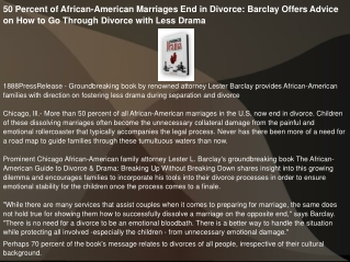 50 Percent of African-American Marriages End in Divorce