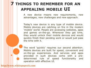 7 things to remember for an appealing mobile UI