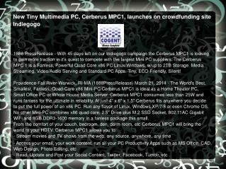 New Tiny Multimedia PC, Cerberus MPC1, launches