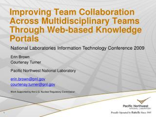 Improving Team Collaboration Across Multidisciplinary Teams Through Web-based Knowledge Portals