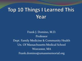Top 10 Things I Learned This Year